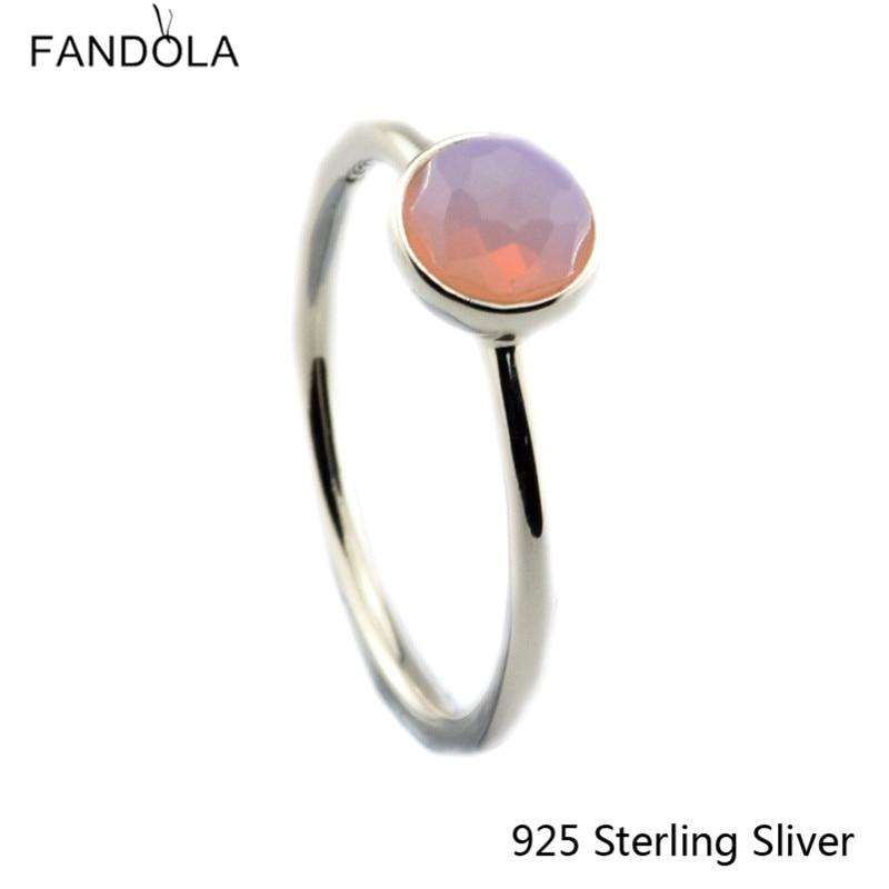 CKK 925 Sterling Silver Droplet Tetor, Opalescent Unazë Crystal Pink Pink, Bizhuteri Stili origjinal Evropian