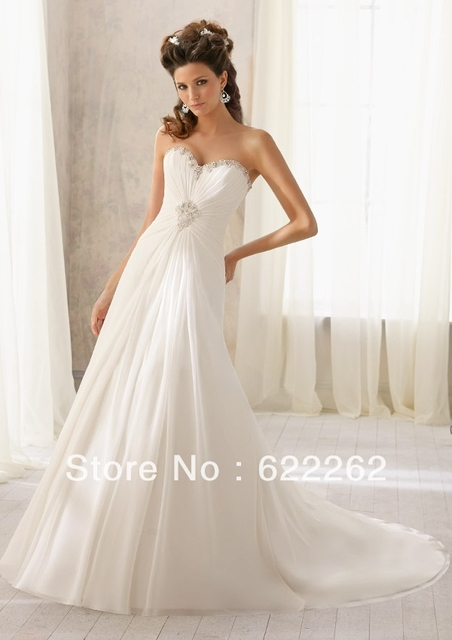 1c97ac554a9b Best Selling a line sweetheart white chiffon beach wedding dresses beads  lace up discount wedding gowns garden