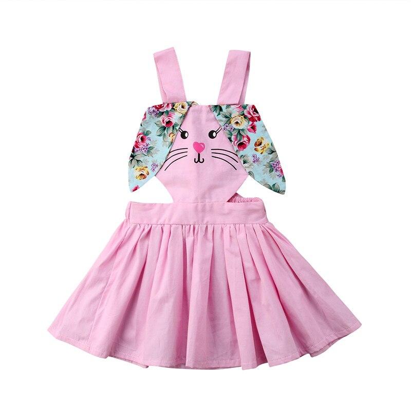 2018 High Quality Baby Girls Dress Easter Cute Bunny Floral Ears Overalls For Children Summer Toddler Kids Sleeveless Vestidos