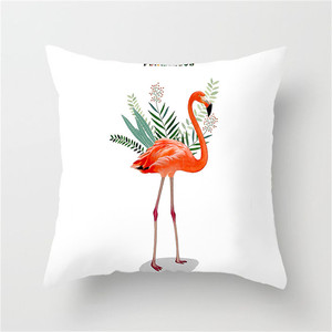 Image 4 - Fuwatacchi Simple Painting Flower Feather Cushion Cover Flamingo Pineapple Leaves Solid Pillow Case Home Decoration Accessories