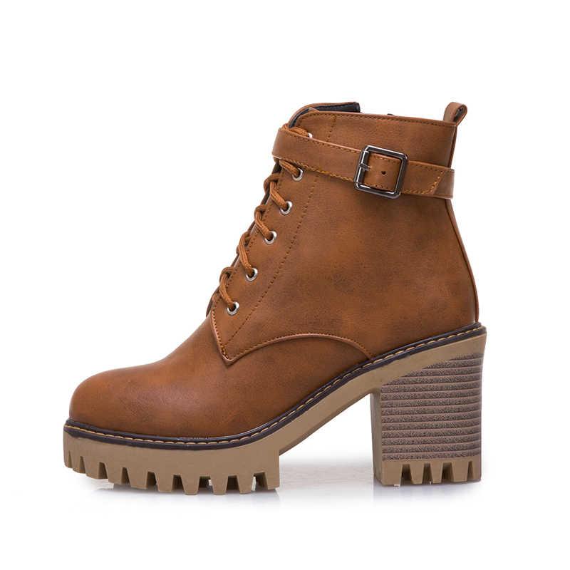 WETKISS Artı Boyutu 44 Yüksek Topuklu Ayak Bileği Kadın Çizmeler Yuvarlak Ayak Lace Up Ayakkabı Kadın Motosiklet Çizme platform ayakkabılar Kadın Kış