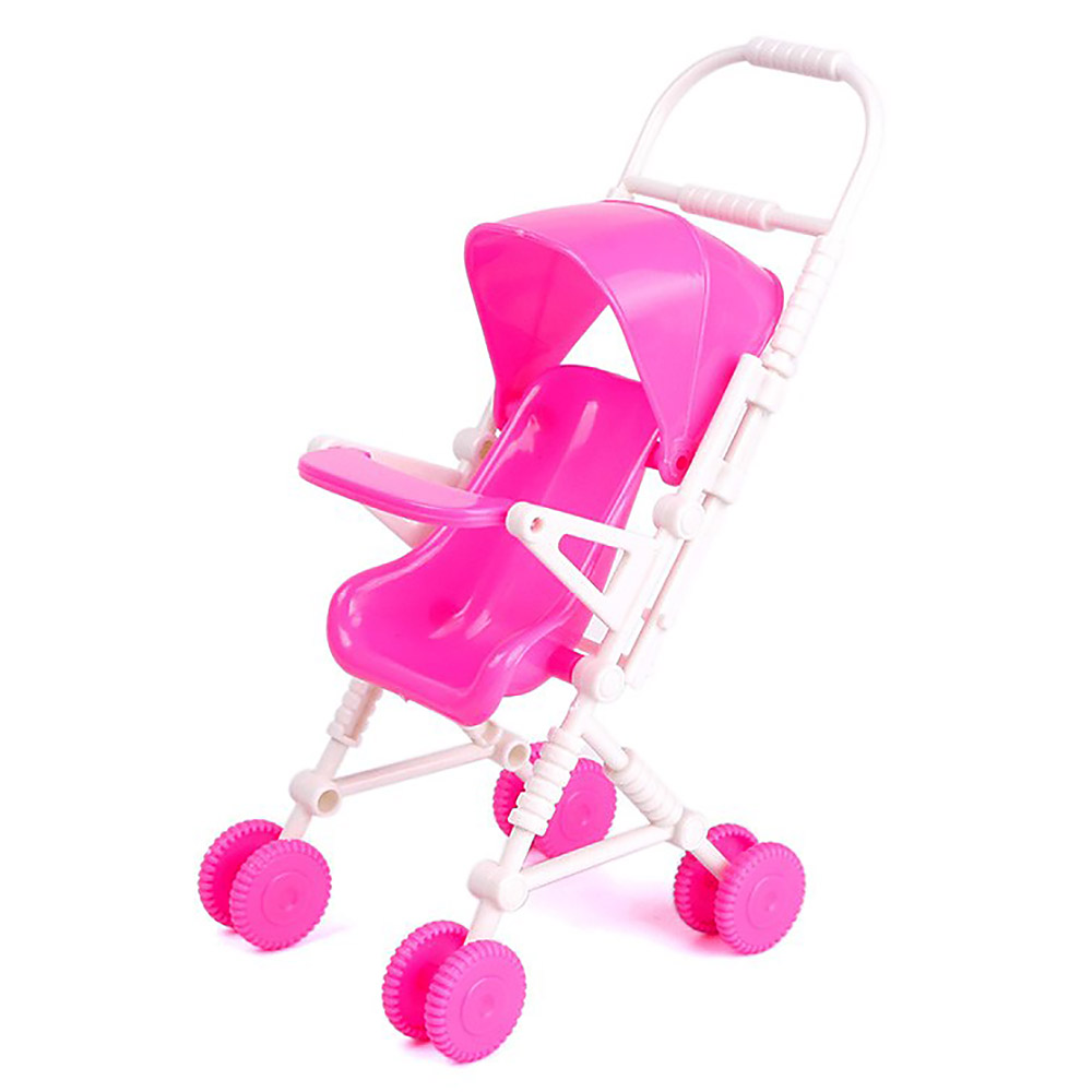 New DIY Assembly Baby Buggy Stroller Pink Dollhouse Carriage Toy