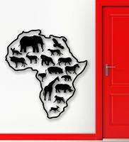 HWHD Naklejki Vinyl Kalkomania Savannah Mapa Afryka Zwierzęta Lew Żyrafa Wystrój darmowa wysyłka