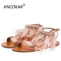 Summer newest flat sandal for woman 2017 sexy open toe gladiator sandal feather crystal embellished ankle strap tassel sandal