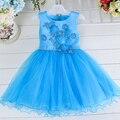 Al por mayor nuevo estilo de la muchacha de flor del verano vestido sin mangas de los niños vestido de niña party girls vestidos 1 lote/6 unids L15062