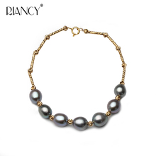 Fashion Charm gray Bracelet Natural Freshwater Pearl Jewelry for Women wedding gift
