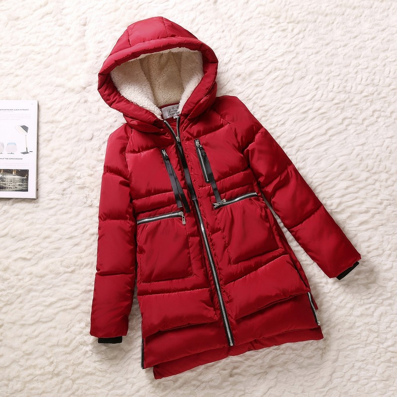 New 2017 Winter Women Wadded Jacket Red Female Outerwear Plus Size 5XL Thick Casual Warm Cotton Wadded Coat Women   Parkas   MZ404