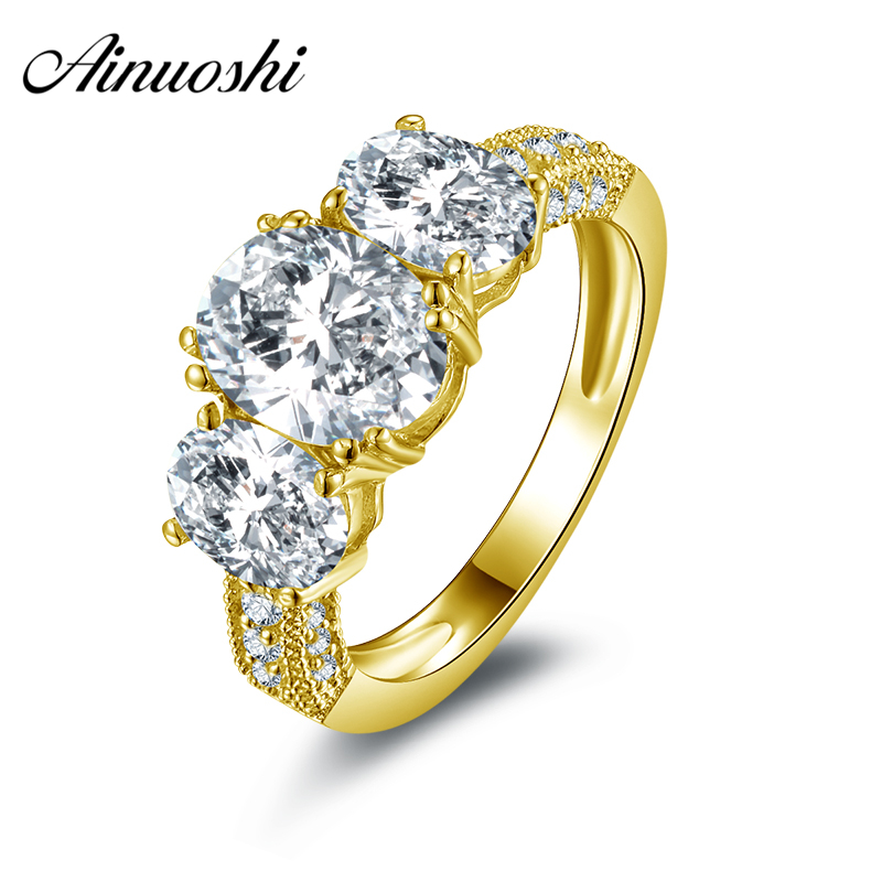 AINUOSHI 10k Solid Yellow Gold Wedding Rings Three Row Drilling Oval Cut Joyeria Fina Fine Jewelry 2 Carat Women Engagement Ring цена