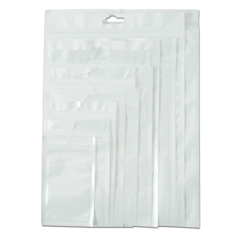 Retail White/Clear Self Seal Zipper Plastic Retail Packaging Pack Poly Bag Ziplock Zip Lock Storage Bag Package Hang Hole