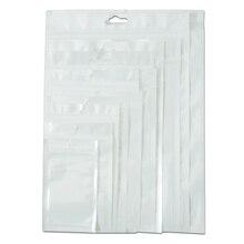 Sample Set! White / Clear Self Seal Zipper Plastic Retail Packaging Packing Poly Bag, Ziplock Zip Lock Bag Package W/ Hang Hole