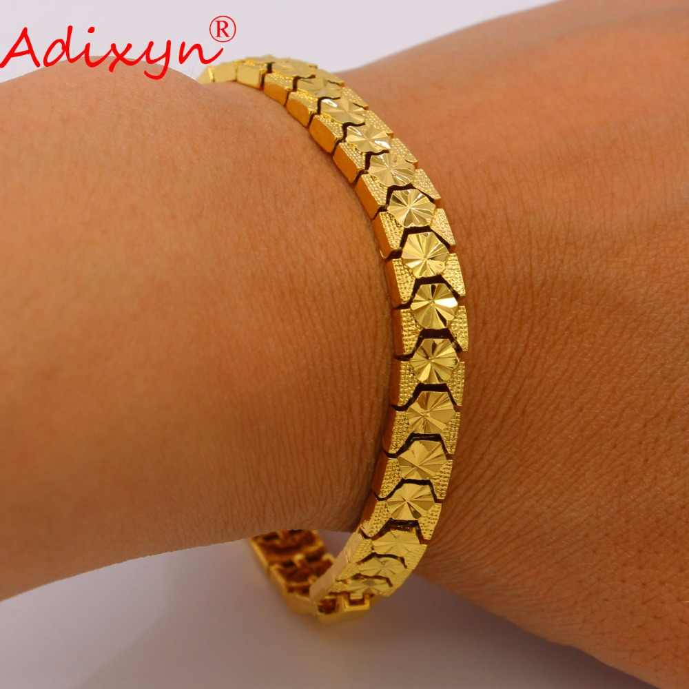 Adixyn צבע & נחושת זהב דובאי תכשיטי יד צמידי שרשרת צמיד זהב לנשים/גברים אפריקאים/האתיופית/קבצי Gif N050716 ערבי