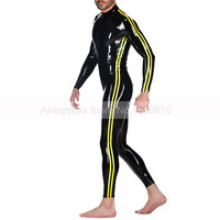 Latex Male Catsuit with Front Zipper Sexy Tight Rubber Bodysuit with Body Side Trims Suit Plus Size Custom Made S LCM142