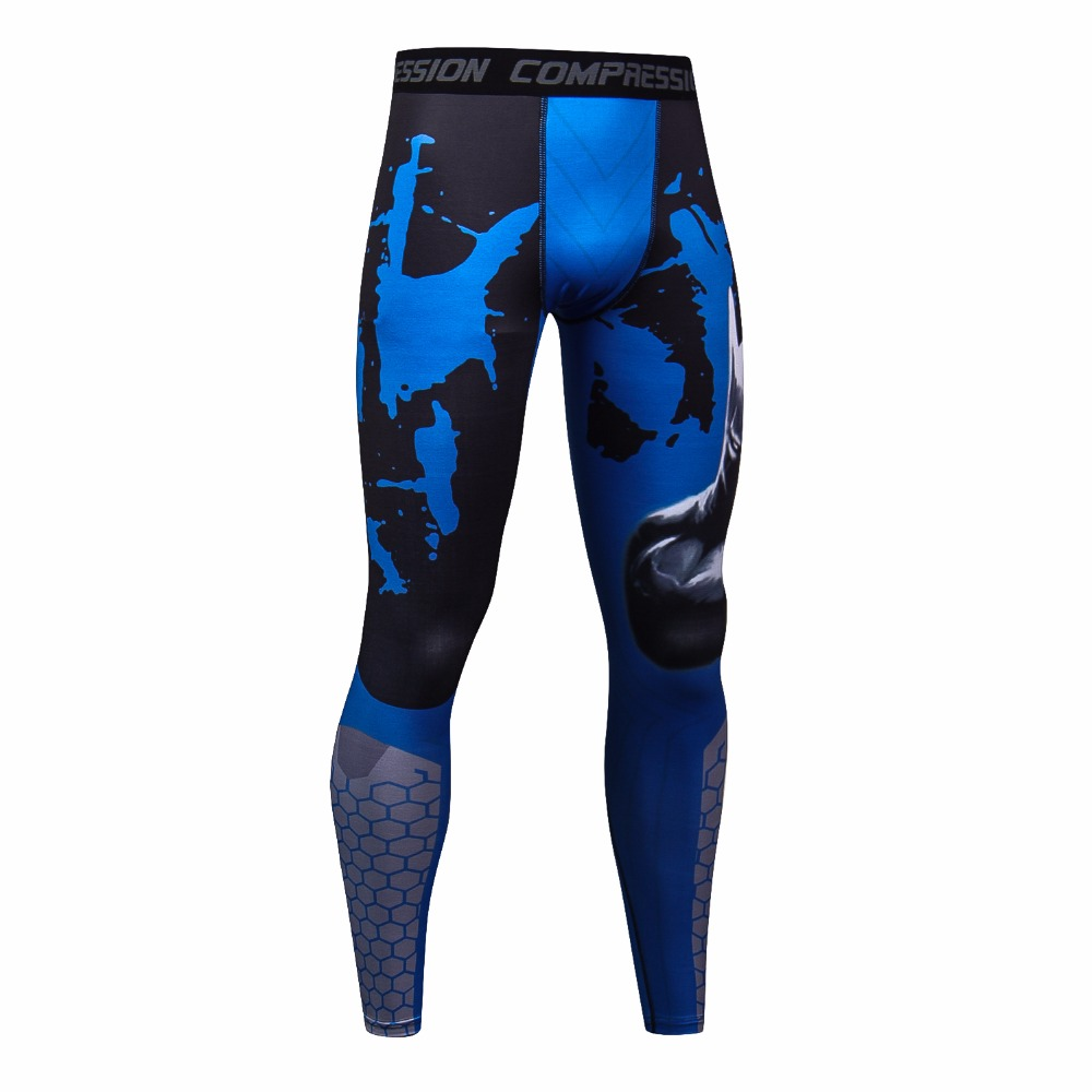 Mens Compression Pants New Fashion 3D Printing Quick Dry Skinny Leggings Tights Fitness MMA Pants Trousers Elasticity