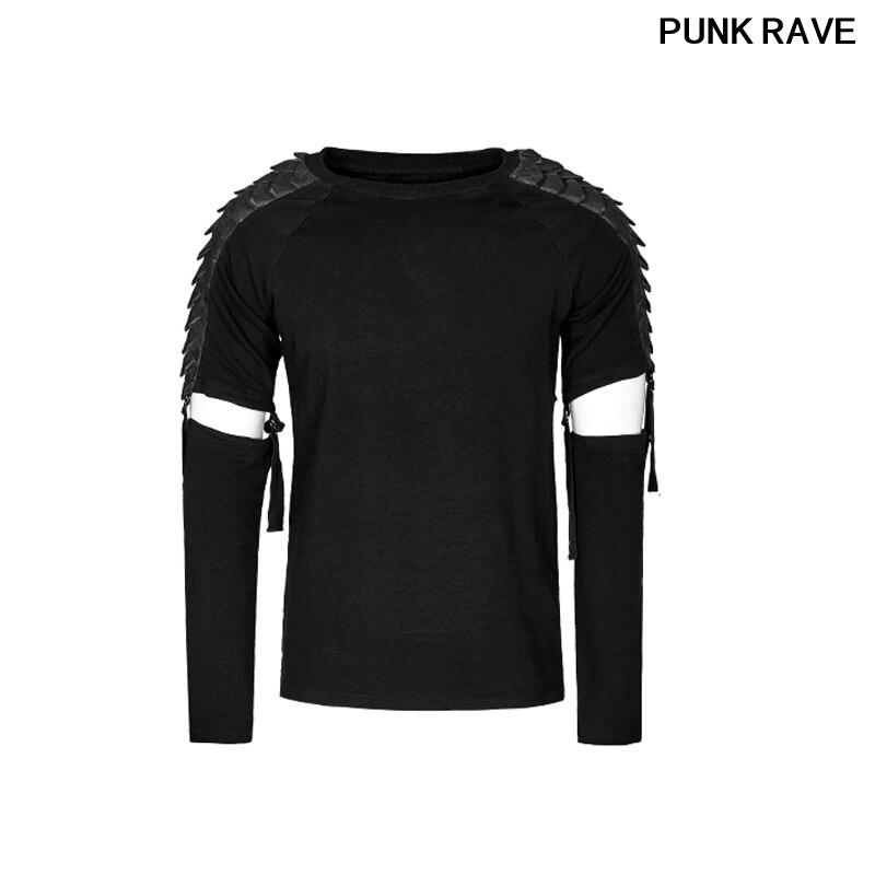 Rock marque noir épissé en cuir moto style T shirt gothique mode détachable à manches longues cool T-shirt haut Punk Rave T-460
