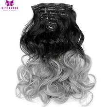 Neverland 20″ 50cm 16 Clips 7pcs/set Full Head Grey Blue Purple Ombre Hairpiece Wavy Synthetic Clip In Hair Extensions Free Ship