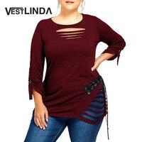 VESTLINDA Women Autumn T Shirt Plus Size Lace Up Ripped T Shirt Fashion Solid Color Round
