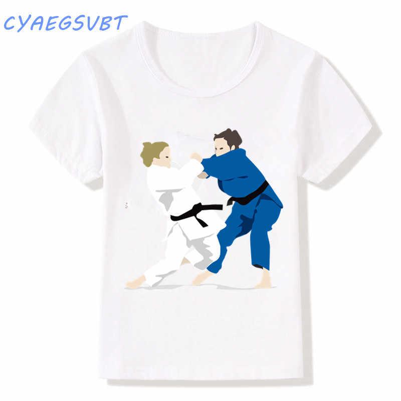 ed64fe64 ... Boy/Girl Evolution Of A judo Taekwond Design T-shirts Children Judo Top  Tees ...