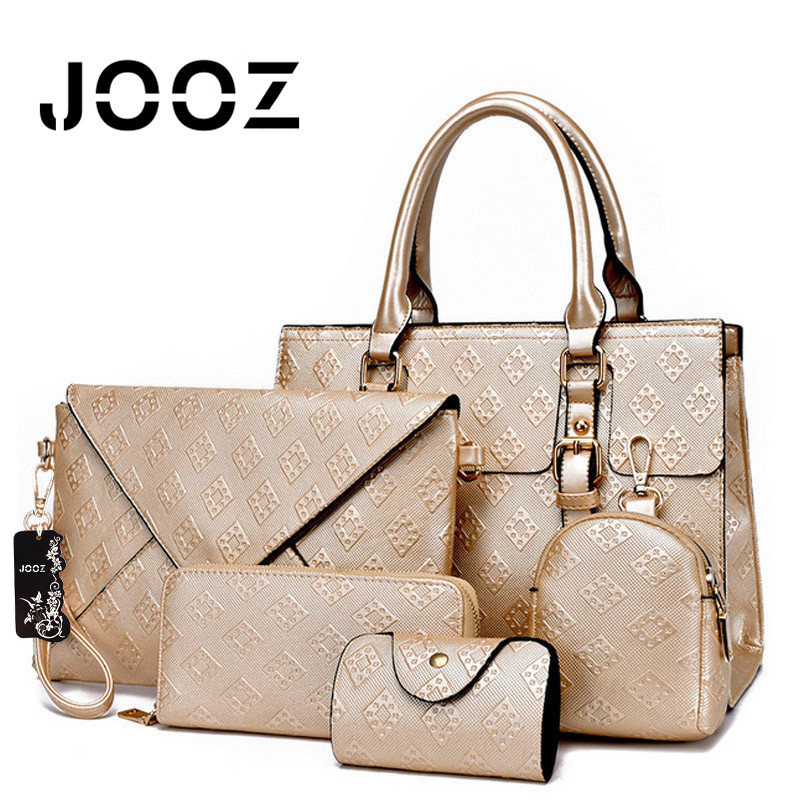 ФОТО Jooz Brand Luxury Diamond Lattice female bag Lady 5 Pcs Composite Bags Set Women Shoulder Crossbody Bags Handbag Purse Clutch