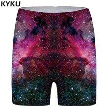 KYKU Galaxy Shorts Women Black Plus Size Space Big Planet Skinny Fashion High Waist Casual 2018 Anime Cool Ladies
