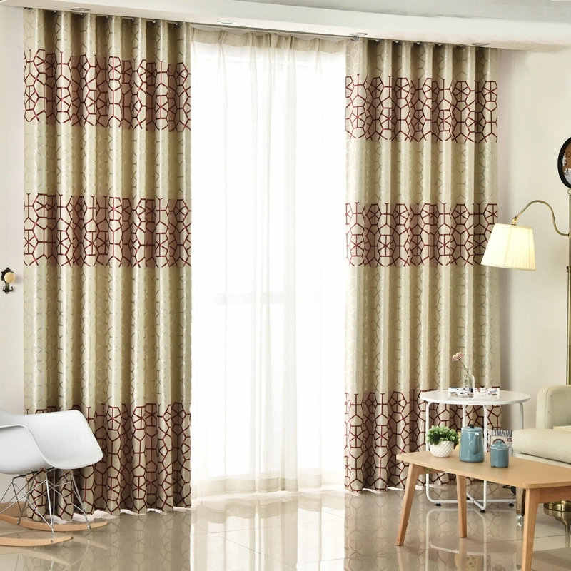 Modern Thick Suede Geometric Curtains For Living Room Bedroom Double Sides Printed Blackout Sheer Drapes Silver Grey Burgundy Curtains Aliexpress