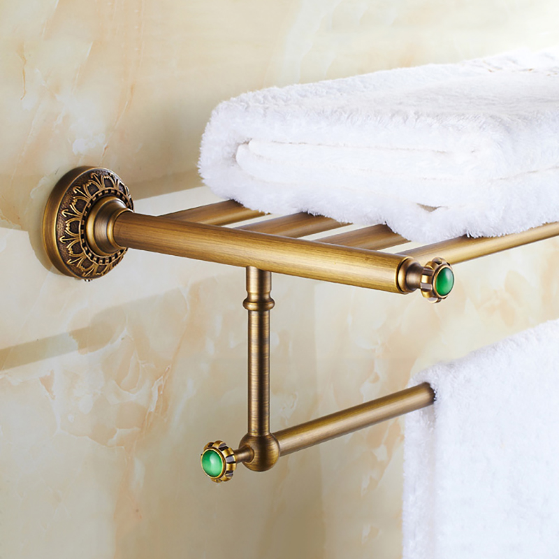 Bathroom Shelves Wall Mounted Towel Rack/Bars Bath Towel Carved Holder 2-tier Brass Bathroom Accessories Towel Tack SSL-S22 bathroom shelves 5 towel hooks brass 2 tier rails towel bars wall shelf bath hangers bathroom accessories towel holder fe 8601