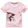 Del algodón del verano del bebé muchachas de la camiseta, marca niños ropa de manga corta cuello redondo impresa conejo bordado de apliques de 18 M-6 T