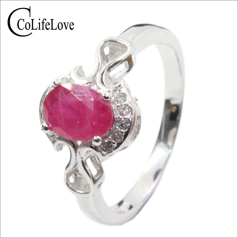 Promotion natural ruby silver ring 4 mm * 6 mm ruby gemstone silver ring solid 925 silver ruby jewelry romantic gift for girl путь ruby