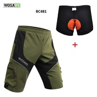 Wosawe Cycling Shorts MTB Bike Bicycle Shorts Breathable Loose Fit Outdoor Sports Cycling Shorts with Zippered Pockets