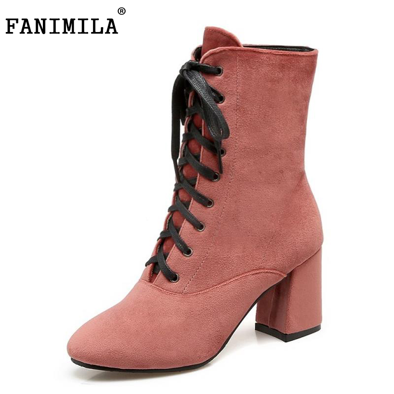 FANIMILA Size 32-43 Women'S Handmade Mid Calf Boots Women Cross Strap Thick Fur High Heel Boots Winter Botas For Women Footwears stylish women s mid calf boots with solid color and fringe design