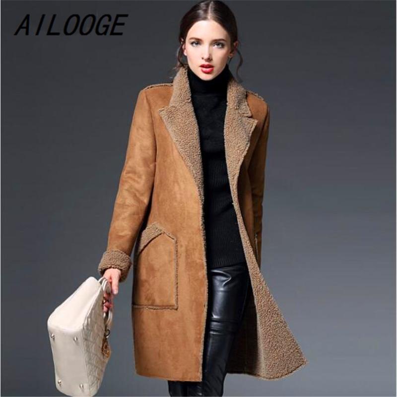 AILOOGE 2017 Femme Winter Jacket Women Suede Lambs Wool Coat Thick Cotton Padded Maxi Coats Long Jacket Female Parka Coat Women
