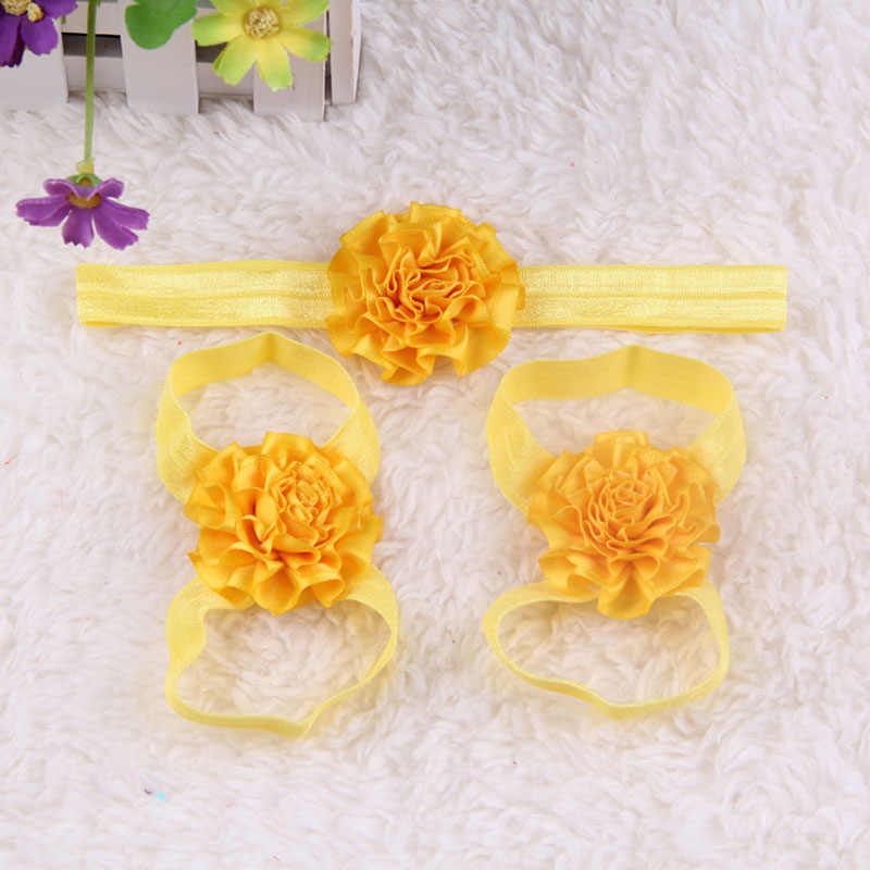 3pcs Newborn Baby Girl Kids Barefoot Sandals Shoes Headband Crystal Flower Lace Foot Band Solid Lovely Gifts Party Birthday New