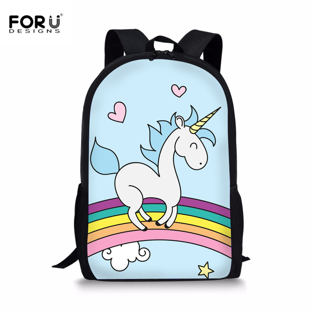 FORUDESIGNS Schoolbag Backpack Cute Unicorn Pattern School Bag For Teenagers Girls Children Student Primary Rucksack Daypack