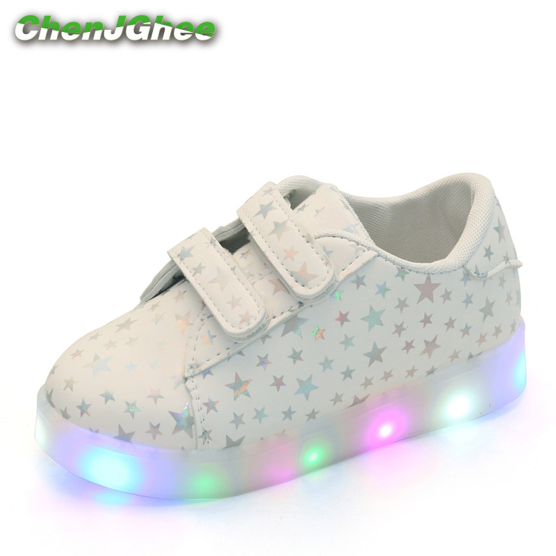 Mumoresip Spring Autumn Kids Shoes Boys Girls LED Light Sneakers Children's Casual PU Leather Shoes Shiny Stars Glowing Luminous