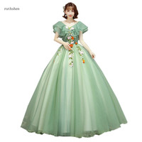 ruthshen Sweet Vestidos Quinceanera 15 Anos V neck Ruffles Sleeve Ball Gown Green Puffy Prom Dresses 3D Flower Vestido Debutante