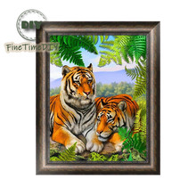 FineTime Animal Tigers 5D DIY Diamond Painting Partial Round Drill Embroidery Cross Stitch Mosaic