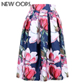 OOPS Ladies Skirts 2016 New Fashion Summer Clothes Sundress Vintage Floral Print Ball Gown Pleated Midi Skater Skirts A141114
