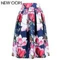 UPS Faldas de Las Señoras 2016 Nueva Ropa de Moda de Verano Vestido de Verano de La Vendimia Impresión Floral del vestido de Bola Plisado Midi Skater Faldas A141114
