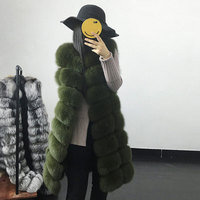 JKP Real fur long coat winter women's coat warm real fox fur jacket furry hot sale striped fashion design outerwear discount