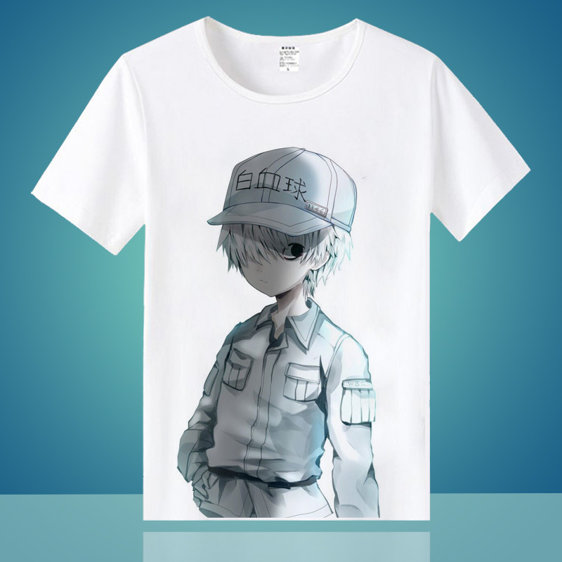Costumebuy Anime Cells at Work! Erythrocite Red Blood Cell White Cell Platelet Cosplay T-shirt T Shirt Short Sleeve Tops Tees