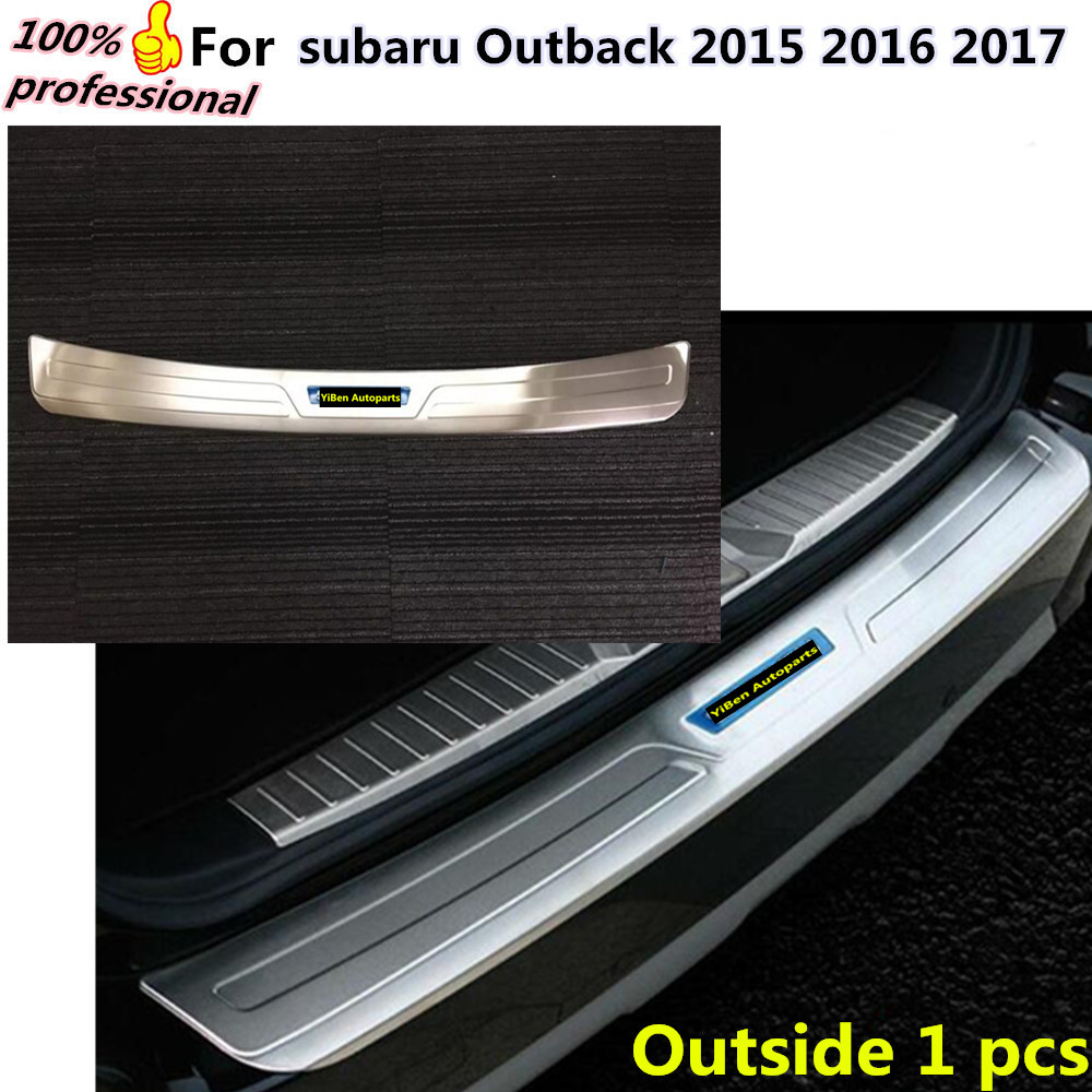 car external rear back bumper Protector frame trim detector Stainless Steel plate pedal parts for subaru Outback 2015 2016 2017  high quality car styling cover detector abs chromium tail back rear license frame plate trim strips 1pcs for su6aru outback 2015