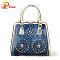 New 2016  fashion women handbags designer diamond decoration denim tote bags luxury ladies vintage bag