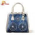 Novas mulheres 2016 moda bolsas designer de diamante decoração denim sacolas saco de luxo senhoras do vintage