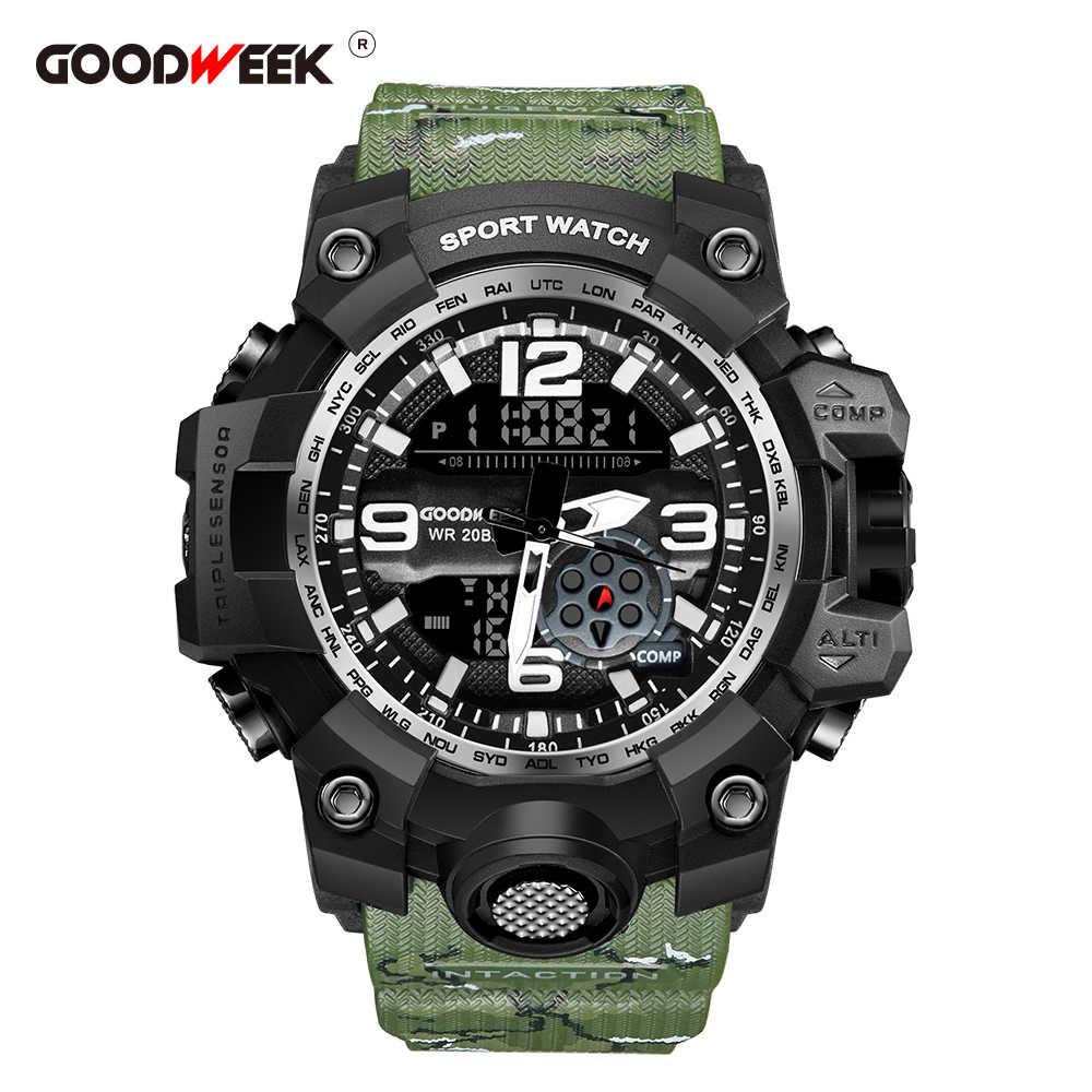 GOODWEEK גברים ספורט שעונים עמיד למים צבא צבאי שעונים דיגיטלי תצוגה כפולה שעונים G סגנון הלם Relogios Masculino
