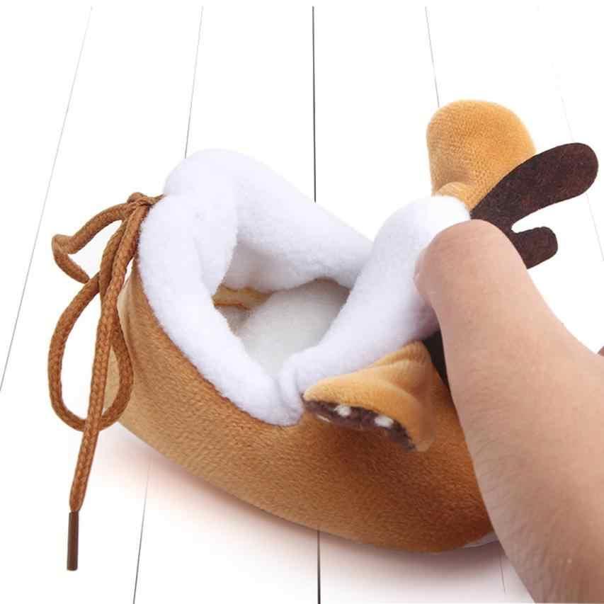 Новинка, рождественские хлопковые рождественские туфли для новорожденных мальчиков и девочек милые Нескользящие ботинки с мягкой подошвой для маленьких детей # JY
