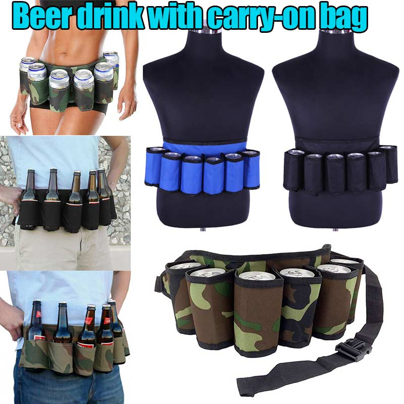 Hot Sale  Personality Fashion Portable 6 Pack Beer Wine Bottle Beverage Soda Can Holster Drink Waist Bag Party Holder Belt OH66