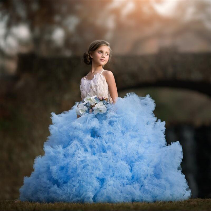 Cloud Blue   Girls   Pageant   Dress   Lovely Fashion Crystal Luxury Feather   Girls   Birthday   Dress   Bow Puffy Tiered   Flower     Girls     Dresses
