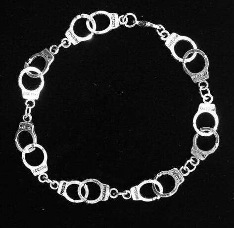 Vintage Silver Charms Police Handcuffs  Bracelet &Bangle Fashion Jewelry DIY Women Couple Accessories Girls Gift Bijoux