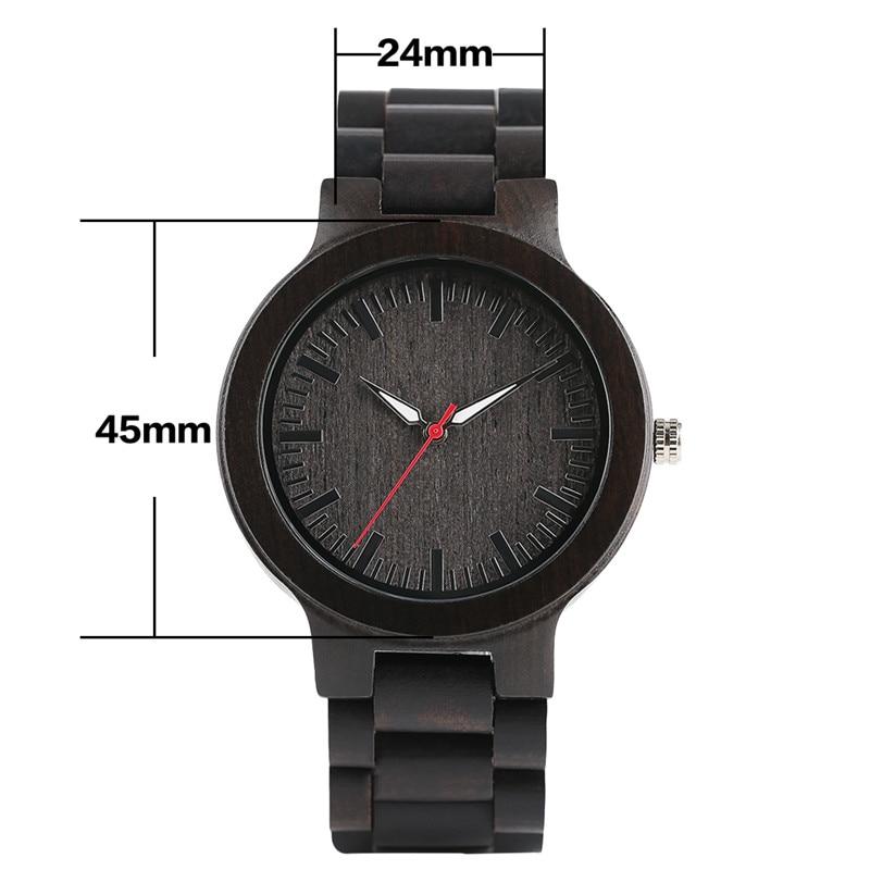 YISUYA Classic Luxury Black Ebony Analog Quartz Wristwatch Men - Տղամարդկանց ժամացույցներ - Լուսանկար 5