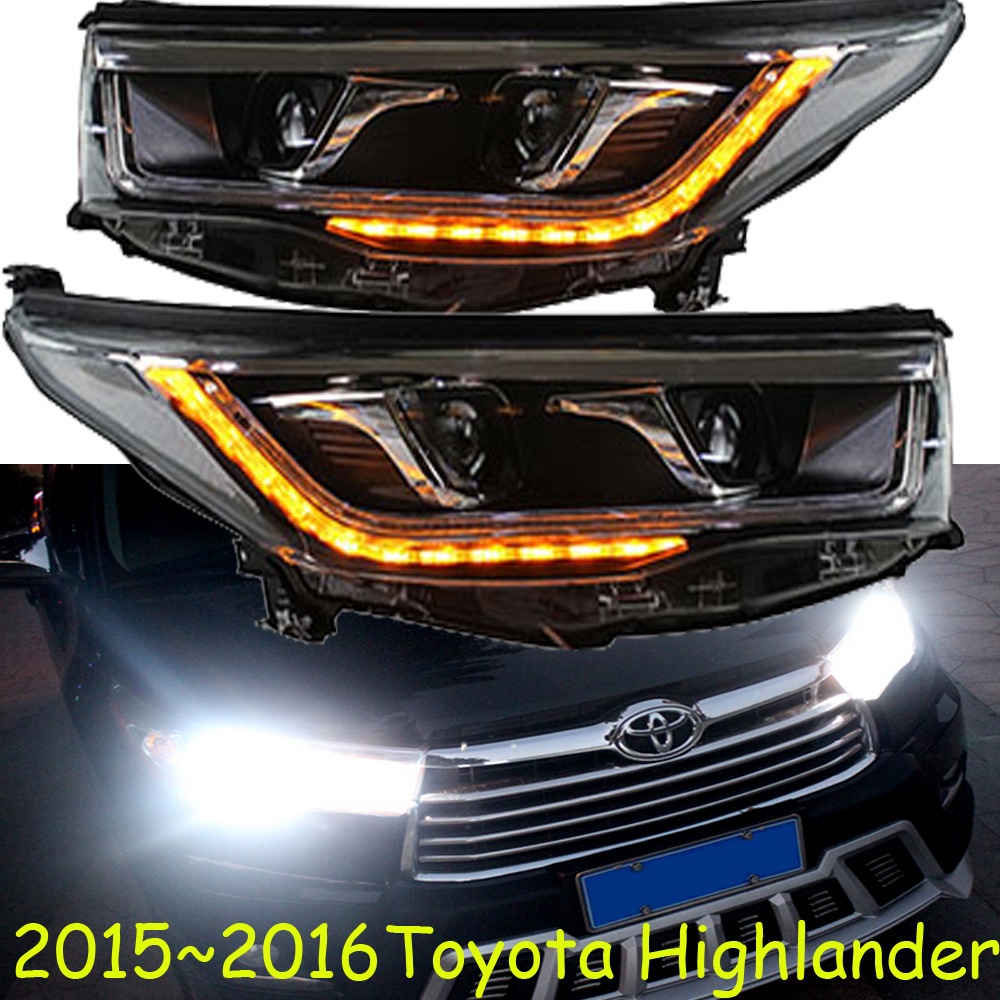 2015 2016 toyota highlander suv headlight with bi xenon projector lens hid bulb led guide line optional ballast free ship good in car light assembly from