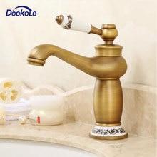 浴室の蛇口アンティークブロンズ銅ホットとコールドデッキマウント、シンクタップセラミック装飾真鍮終え